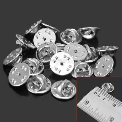 20 Pcs Metal Badge Tie Lapel Pin Butterfly Clasps Clutch Findings Silver Tone