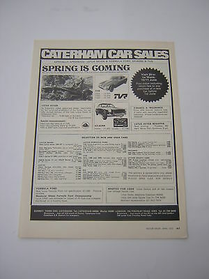 Caterham Car Sales Advert from 1972 - Lotus 7 Seven TVR