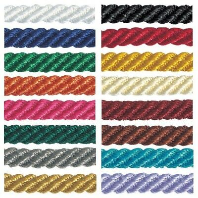 5mm x 2m, 5m or 20m Berisfords Barley Twist Rope Cord Polyester Craft Ribbon