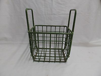 Vintage Small Kelly Green Coated Wire Basket With Handles Old Steampunk 3986-14