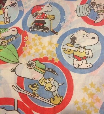 Vintage 1965 Snoopy Peanuts Full Fitted Olympics Sports Bedding Sheet USA
