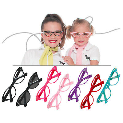 Hip Hop 50s Shop Child Cat Eye Glasses Poodle Skirt Halloween Costume Accessory