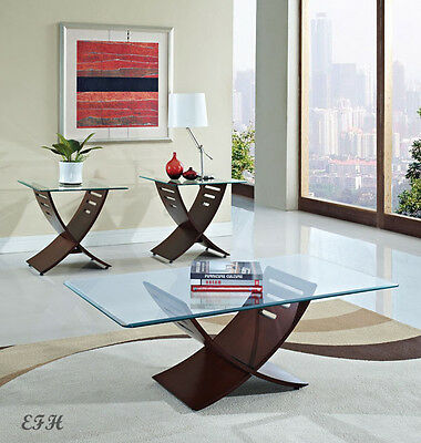 NEW 3PC DALIA MODERN GLASS TOP DARK CHERRY FINISH WOOD COFFEE END TABLE SET
