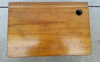 CHILDS SCHOOL DESK TOP SMALL WOODEN  PROJECT REPURPOSE hole for ink well