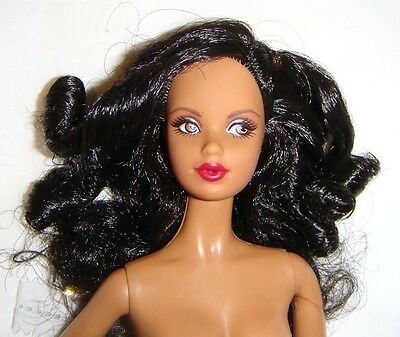Nude Barbie AA Long Curly Black Haired Nude Model Muse Barbie Doll mn901