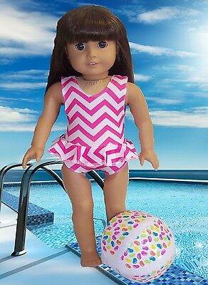 """Pink & White Swimsuit & Beach Ball made for 18"""" American Girl Doll Clothes"""