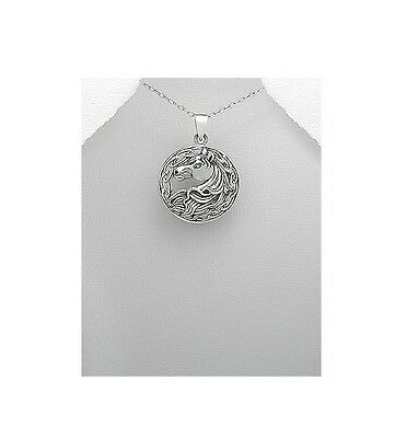 Beautiful Celtic Knot Horse Head Round Sterling Silver .925 Pendant Necklace
