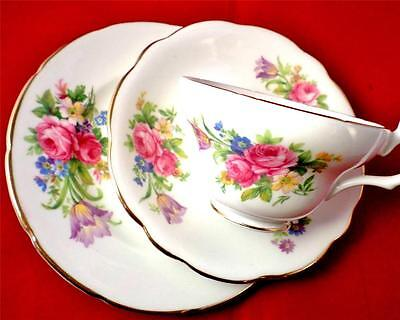 VINTAGE China FOLEY Trio FLORAL BOUQUET Teatime SHABBY CHIC Cabinet Set ROSES