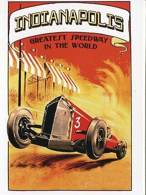 POST CARD OF AN OLD TRAVEL POSTER FOR INDIANAPOLIS GREATEST SPEEDWAY IN WORLD