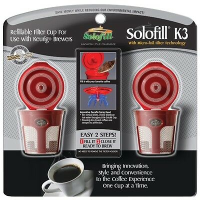 SOLOFILL 10720-01-CHROME K3 Refillable Filter Cup for Keurig,2 Pack