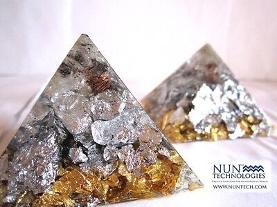 Orgone Rough Diamond 24k GOLD Sterling SILVER Crystal Healing Pyramid POTENT!!