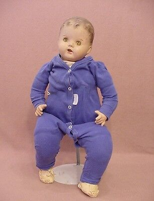 """23"""" Big chunky old antique composition cloth mama baby doll for TLC & repairs"""