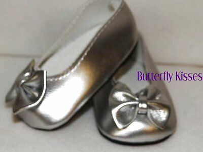 Silver Patent Bow Shoes Doll Clothes Made for 18 inch American Girl Dolls