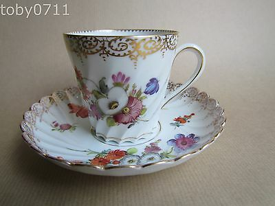 DRESDEN PORCELAIN WRYTHEN FLUTED AND TAPERED CUP AND SAUCER