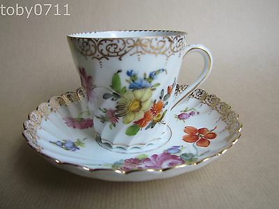 DRESDEN PORCELAIN WRYTHEN FLUTED AND TAPERED CUP & SAUCER