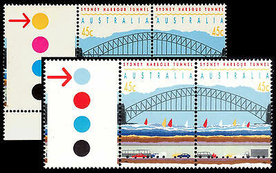 BOTH DOT varieties! Harbour Tunnel 1992 p15½ se-tenant pairs & gutter tabs