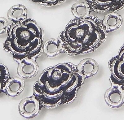 25 Antique Silver Pewter Rose Link Connector ~ Lead-Free ~