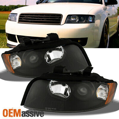 2002-2005 Audi A4/S4 Black Replacement Projector Headlights lamps Left + Right