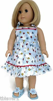 """Blue Bird Print Dress & Sandals made for 18"""" American Girl Doll Clothes"""