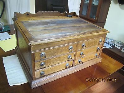 ANTIQUE 6 DRAWER CLARKS COUNTRY STORE SPOOL THREAD DISPLAY W GALLERY & INKWELL