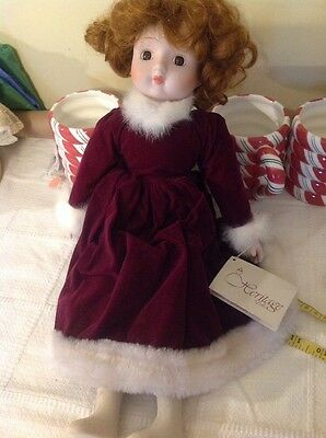 "Heritage collection porcelain Christmas doll musical wind up 18"" tall"