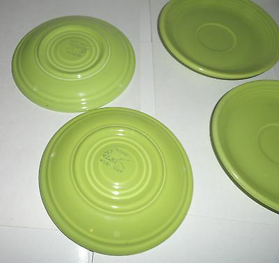 4 VINTAGE CHARTREUSE GREEN 1950's FIESTA  SAUCER CUP PLATE HOMER LAUGHLIN