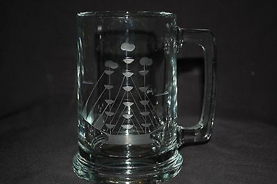 Beer Mug Etched Ship  Two Available