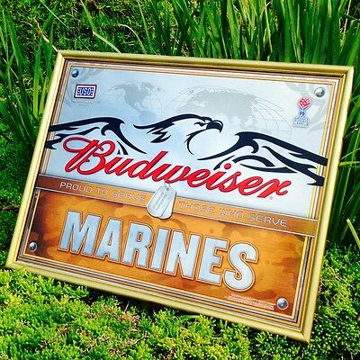 "Budweiser U.S. Marines Armed Forces Military Beer Bar Mirror ""New"""