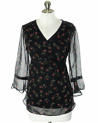 8146b007f246b Motherhood Maternity Black Red Floral Lined Lace Trimmed Waist Tie Blouse  Size S