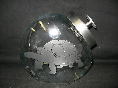 NEW ETCHED TORTOISE GLASS CANDY COOKIE TREAT STORAGE JAR CANISTER