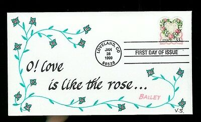 Vermont Scribes Hand Calligraphy FDC 3274 Victorian Love Stamp