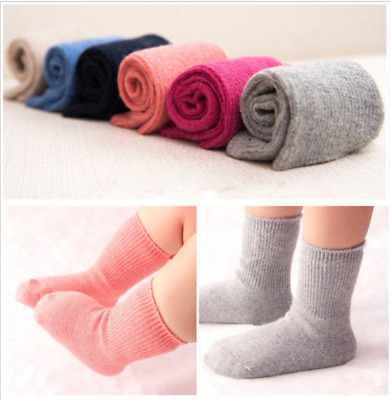 6 Pairs Lot Infants Baby Kids Boys Girls Wool Cashmere Warm Soft Solid Socks0-6Y