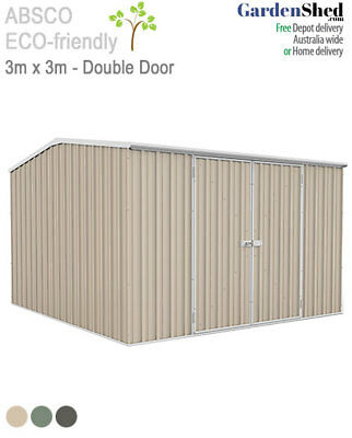 Garden Shed 3m x 3m - ABSCO SPECIAL - Colorbond Paperbark / Merino