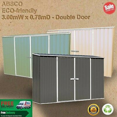 Garden Shed 3mW x 0.78mD Double Door Green or Merino or Grey