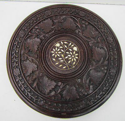 Old Carved Wooden Small Table Top with Inlay