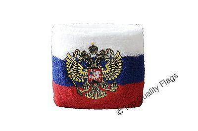 WRISTBAND Russia with coat of arms Flag SWEATBAND 7x8cm SET of 2 pcs