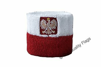 WRISTBAND Poland with eagle Flag SWEATBAND 7x8cm SET of 2 pcs