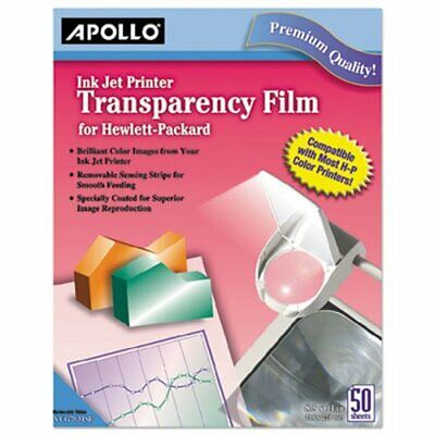 Apollo Inkjet Printer Transparency Film, Clear, 50 Sheets (APOCG7031S)