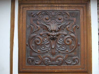 UNUSUAL OLD WOODEN CARVED PANEL,DEPICTS  MYTHICAL HEAD