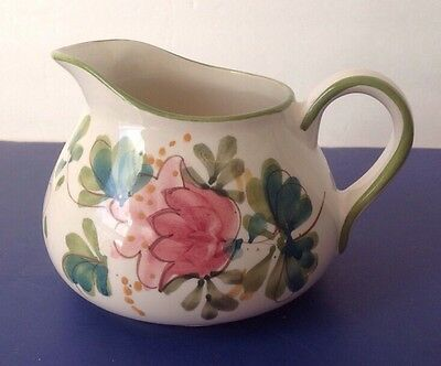GORGEOUS HAND PAINTED FLORAL DESIGN PITCHER PORTUGAL