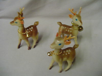 "Reindeer Plastic 2 ONLY  Marked Hong Kong 4.25"" Tall 2.75"" Long Retro"