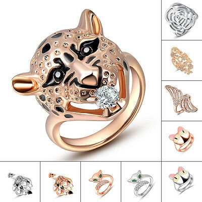 Multi Designs Tiger Shaped Pure Austrian Crystal 18K White Gold Gp Finger Rings