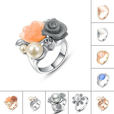 Multi Designs Rose Pearls Opal 18K Yellow Gold Gp Fashion New Gift Finger Rings