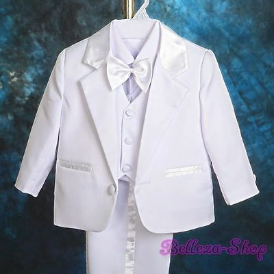 5pcs Set Baby Boys White Formal Suits Outfits Christening Wedding Sz 3-6M ST022A