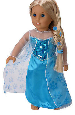 """Frozen Inspired Elsa Dress Gown made for 18"""" American Girl Doll Clothes"""