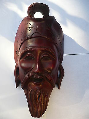 ANTIQUE CHINESE HAND CARVED WOOD MASK