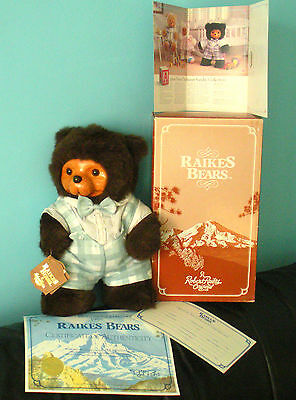 "Robert Raikes Original Bear Timmy 16"" 17009 Tags Box Sert Broshure Applause Wood"