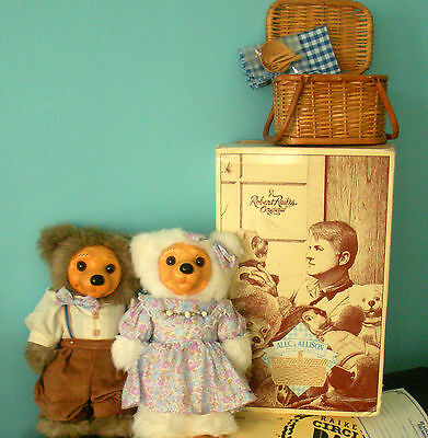"Raikes Bears 13"" Alec Allison Picnic Pair Original Applause New Box Wood Tag VTG"
