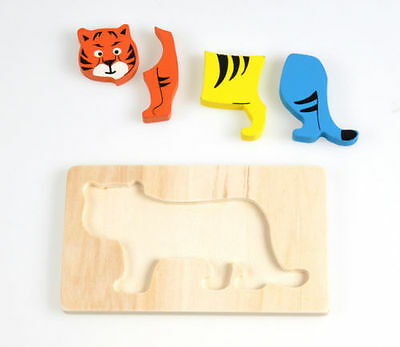 Cartoon Tiger Puzzle Game Wooden Geometry Block Kid Baby Early Educational Toy