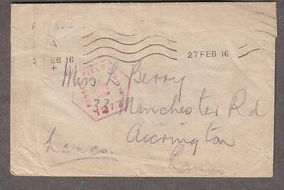 1916 WWI British passed Field censor cover to Manchester Road Accrington Lancs